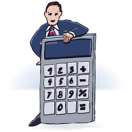 everyday: Businessman and pocket calculator  Illustration