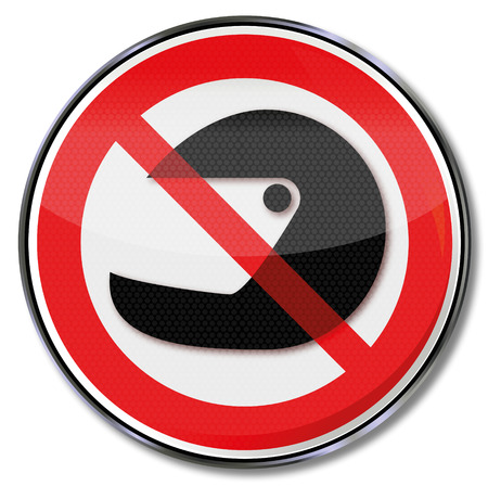 ban: Prohibition sign do not wear a helmet and disguise