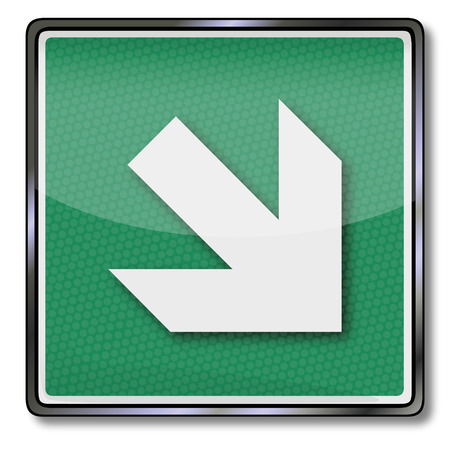Additional sign exit sign arrow to the right bottom