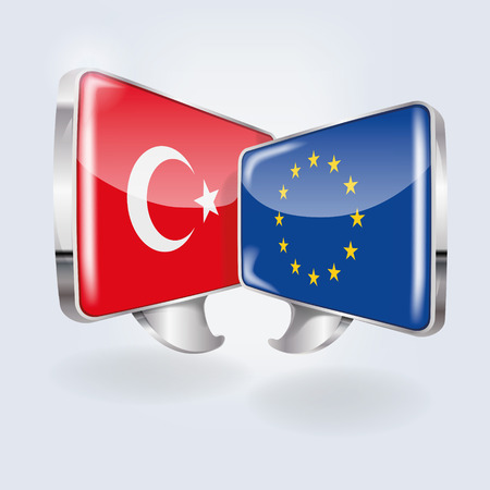Bubbles with Turkey and Europe Vector