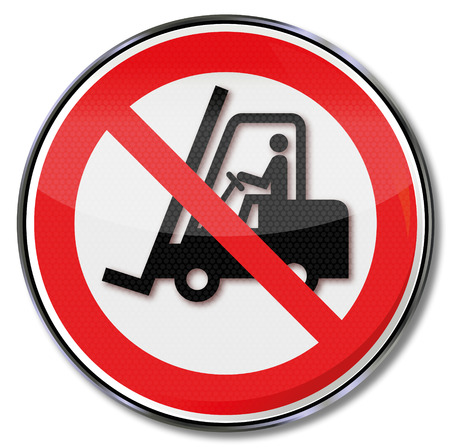 forklift truck: Prohibition sign for fork-lift truck