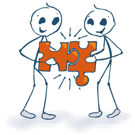 precisely: Stick figures and puzzle  Illustration