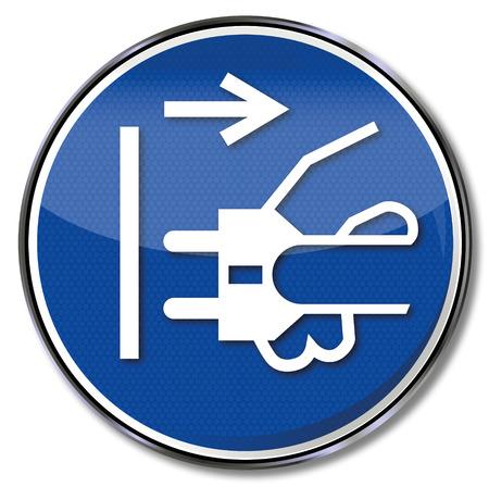 occupational risk: Mandatory sign pull of main plug