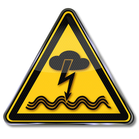Danger sign warning of electric shock from lightning and thunderstorms in the aquatic  Illustration