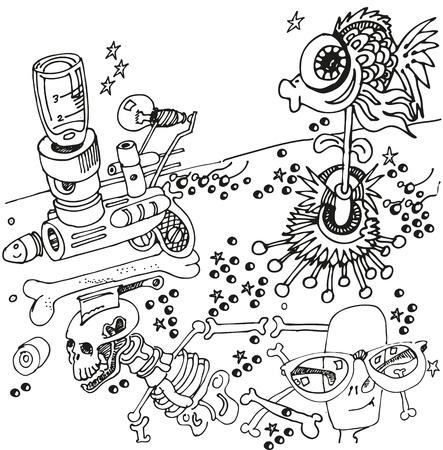 creador: Bolígrafo de dibujo con el arma y los peces Vectores
