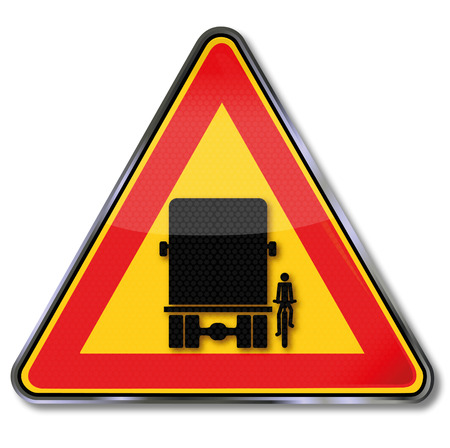 Traffic sign warning blind spot and the overlooking of bikers  Vector