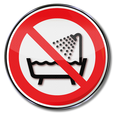 showering: Prohibition sign do not use this unit in the bath, shower or basin filled with water