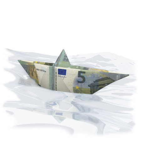 Little paper boat with Euro 5  photo