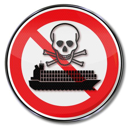 residuos toxicos: Muestra de la prohibici�n para los buques de contenedores con residuos t�xicos Vectores