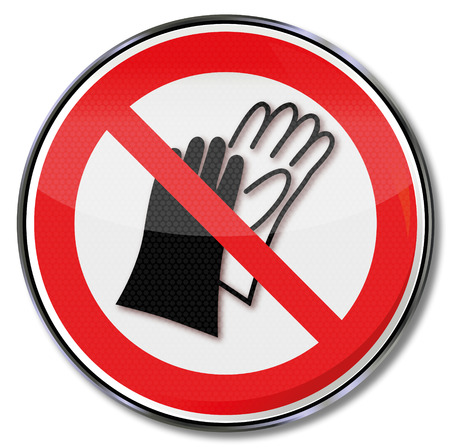 accident prevention: Prohibition sign no use of gloves Illustration
