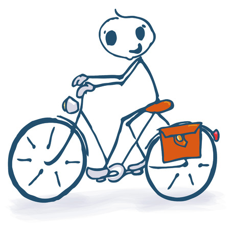 show time: Stick figure with bicycle   Illustration