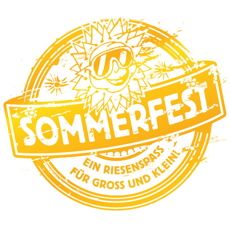 overheating: Rubber stamp summer festival with sun Illustration