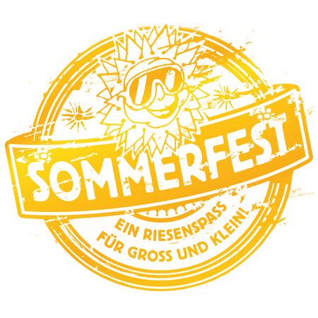summer festival: Rubber stamp summer festival with sun Illustration