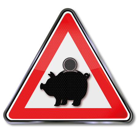 avalanche: Sign attention piggy banks and investment  Illustration