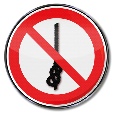 Prohibition sign no knot of ropes Illustration