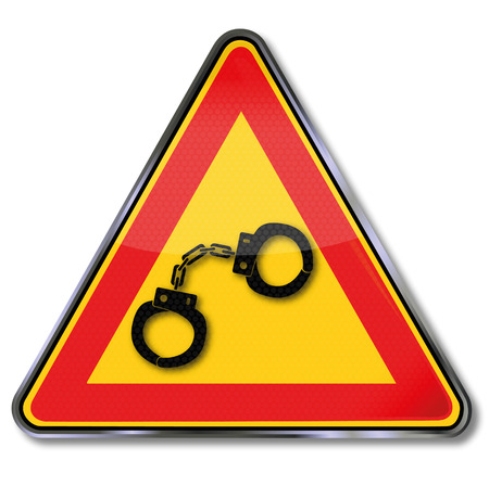 delinquency: Sign with two handcuffs