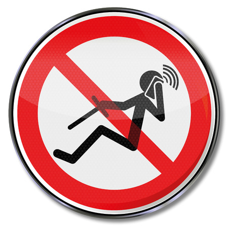 Prohibition sign for phoning while driving  Vector