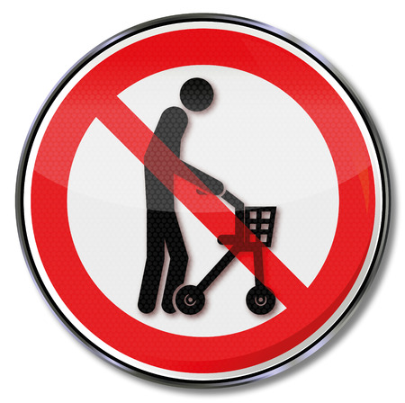 slowness: Prohibition sign with old man an a rolling support