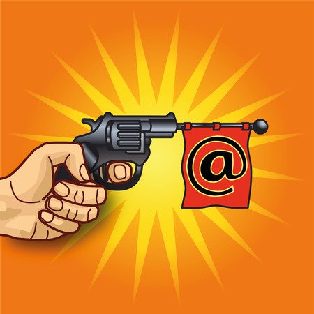 Hand with revolver, email and messaging