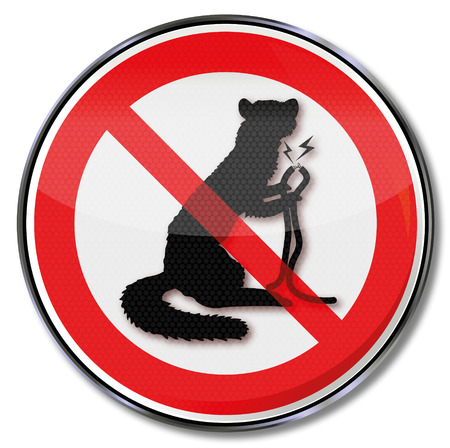 marten: Prohibition sign marten and cable bite  Illustration