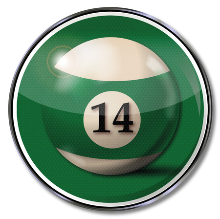 number 14: Sign billiard ball number 14  Illustration