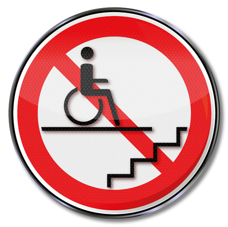 prohibit the production: Prohibition sign for wheelchair users in the stairwell