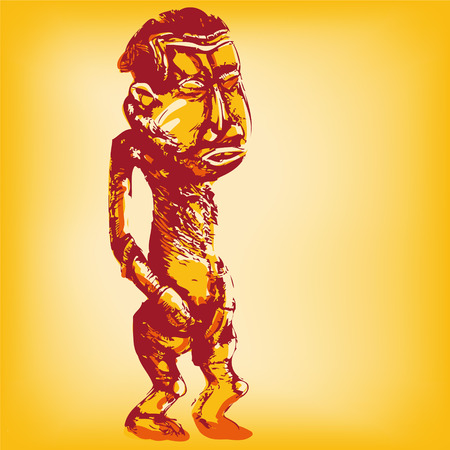 wooden doll: Drawing African standing wooden dummy  Illustration