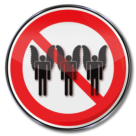 prohibitions: Prohibition sign for angels and sadness