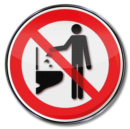 inodoro: Señal de prohibición por favor no tire ningún objeto hacia abajo en el inodoro