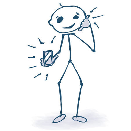 Stick figure with phone  Vector