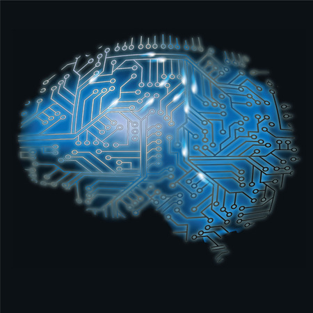Brain and computer  Vector