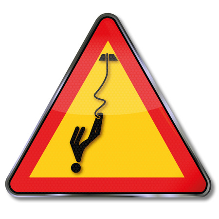 free fall: Warning sign caution bungee jumping