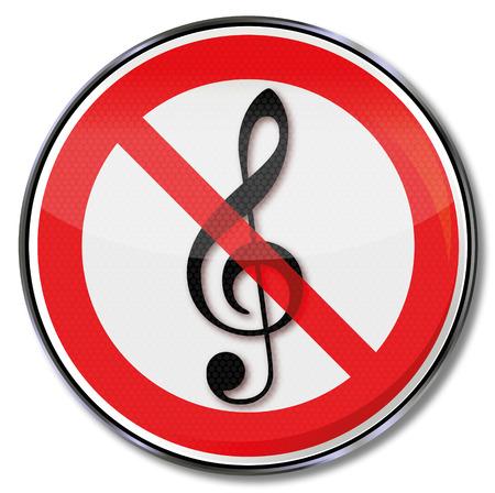 Prohibition sign for music  Illustration