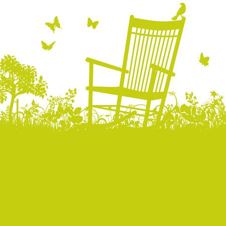 Rocking chair in the garden Vettoriali