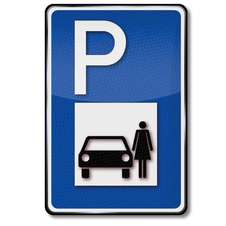 accident woman: Se�al de tr�fico con aparcamiento mujeres