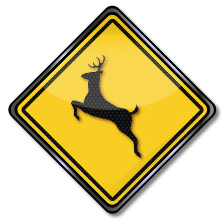 Sign Caution animal crossing and stag Illustration