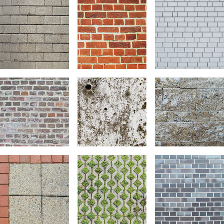 clinker: Nine images of walls and stones Stock Photo