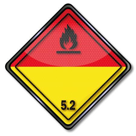 peroxide: Danger Sign Dangerous Goods Class 5.2 Illustration