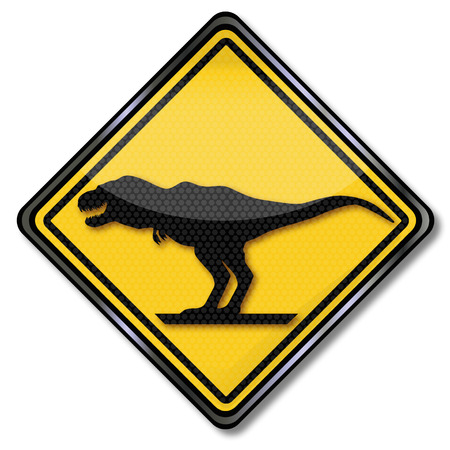 biomechanics: Sign with dinosaur and Tyrannosaurus