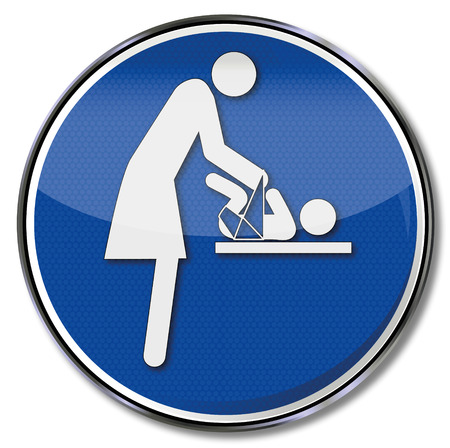 diaper changing table: Sign with mother and child at the changing table Illustration