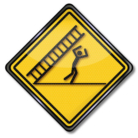 head injury: Danger Sign caution falling ladder and misfortune Illustration