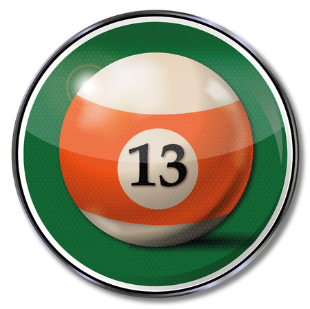 fortunately: Sign with orange billiard ball number 13 Illustration