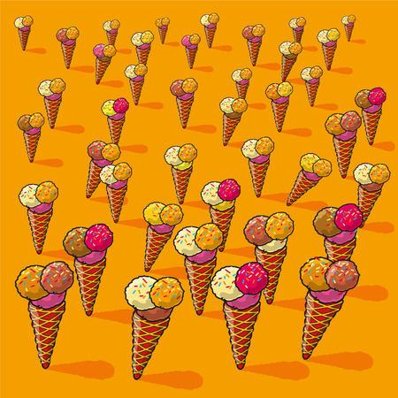 Many small ice cream cones Vector