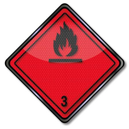 Danger sign dangerous goods class 3