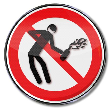 insurrection: Prohibition sign for Molotov