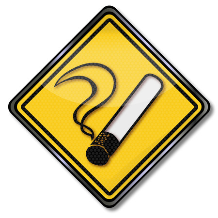 tax policy: Sign with glowing cigarette Illustration