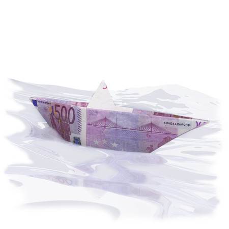 Paper boat with 500 Euros