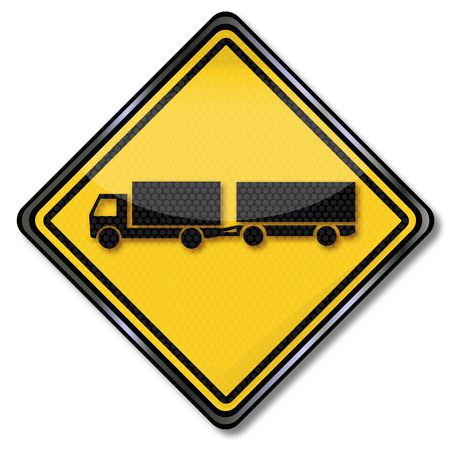 slowdown: Sign truck with two-axle trailer