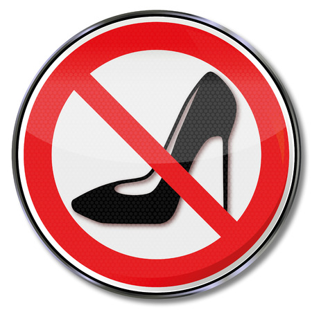 womens work: Prohibition sign for heeled shoes
