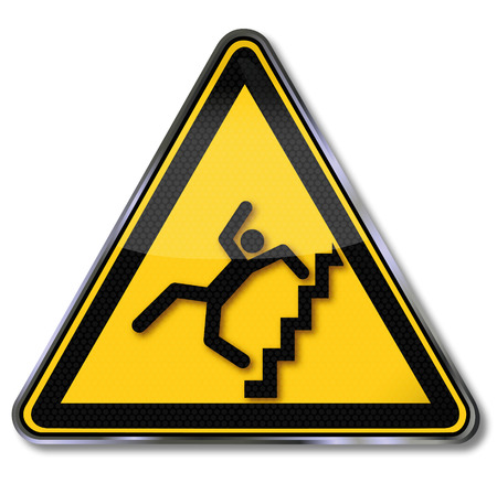 Sign caution steep stairs and fall risk Vector